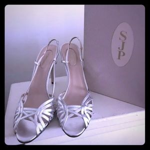 "SJP Collection ""Sophia"" Silver Slingbacks Sz 9.5"